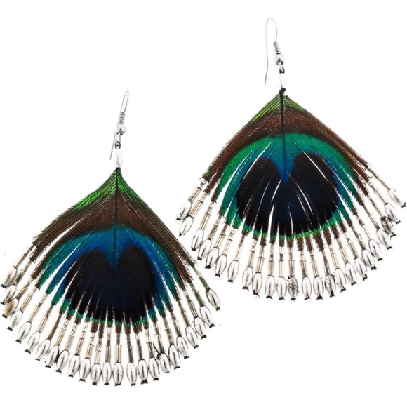Sterling Silver Beaded Peacock Feather Earrings